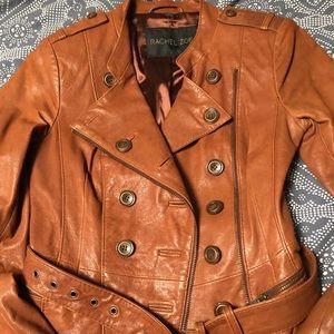 Rachel Zoe belted leather Moto Jacket